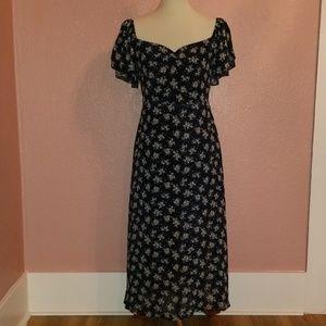 LUMIERE Floral Midi Maxi Romantic Chiffon Dress S